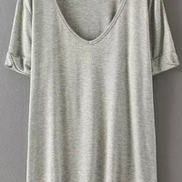 Pale Grey V-neck Short Sleeve T-shirt
