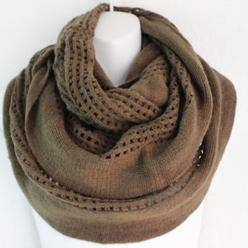 Women's Chunky Knitted Scarf, Knit Infinity Scarf, Oversized Scaf, Open Knit Scarf in Olive, Cozy Snood or Cowl, Fall Scarves
