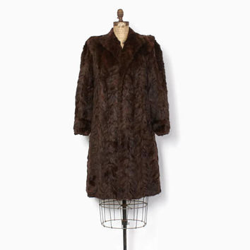Vintage 40s MINK Coat / 1940s Textured Soft Brown Genuine MINK Full 3/4 Length Winter Coat
