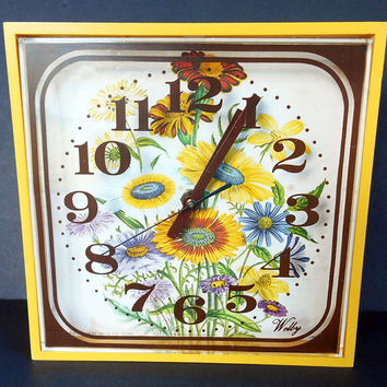 Vintage Plastic Welby Analog Clock, Seventies Kitsch Retro, Golden Harvest Yellow, Brown Stripe,  Sunflowers, 8 Square, Blue Yellow Flowers