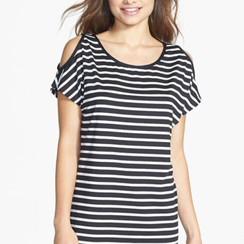 Stripe Cold Shoulder Cover-Up Tunic