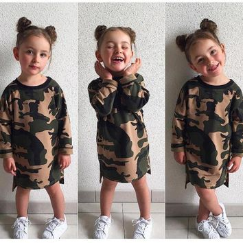 Toddler Casual Style Baby Girls Long Sleeve Camouflage Dress Kid Girls Loose Straight Children Shirt Dress 07
