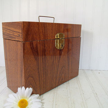 Industrial Litho Wood Grain Metal Standard Check File Box - Vintage Ballonoff Style Carrier - Retro Faux Wooden Case & Working Original Key