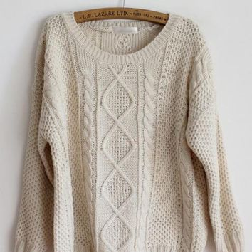 Pretty Round Neck Beige Sweater$43.00