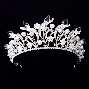 Tiaras Baroque Crystal Crown Rhinestone