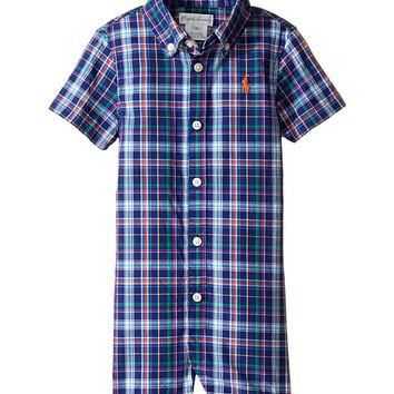 Ralph Lauren Baby Yarn-Dyed Oxford Plaid Shortalls (Infant) Blue/Orange Multi - Zappos