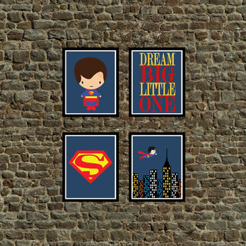 Set of 4 - Super Hero Superman Wall Art Prints, Superman, Cityscape, Dream Big Little One