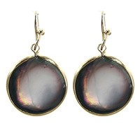 Gray and Gold Sculpted Circle Drop Earings