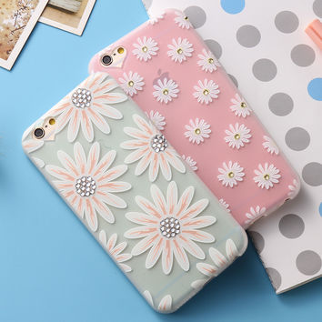 Art Print Flower Case For iPhone 6 6S iPhone 6Plus 6SPlus Frosted Soft TPU Luxury Glitter 3D Diamond Petals Chic Girly Cover
