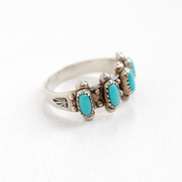 Vintage Sterling Silver Turquoise Blue Stone Ring - Size 6 1/4 Retro Southwestern Native American Style Studded Jewelry