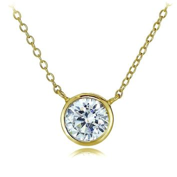 Gold Tone over Sterling Silver Bezel-Set CZ Round Solitare Necklace