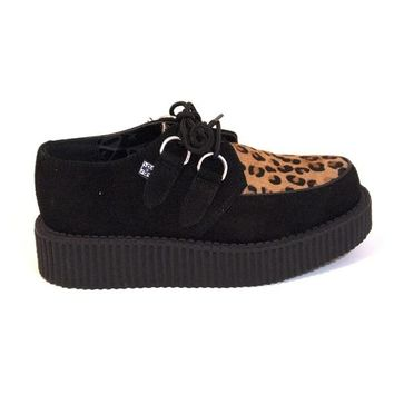 T.U.K. Low Sole Creeper - Black Suede Leopard Platform