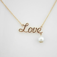 monogram LOVE necklace, double color pearl necklace, gold necklace,short necklace, bridesmaids love gift