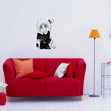 Wall Mural Vinyl Decal Sticker Design Interior Nice girl with keyboard OS518