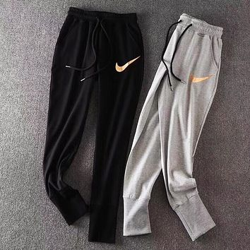 One-nice™ Nike Women Golden LOGO Stretch Leggings Sweatpants Exercise Fitness Sport Pants Trousers