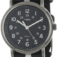 "Timex Unisex T2N889 ""Weekender"" Black and Gray Nylon Strap Watch"