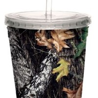 Tree-Free Greetings 80615 Break Up by Mossy Oak Camo Artful Traveler Double-Walled Acrylic Cool Cup with Reusable Straw, 16-Ounce