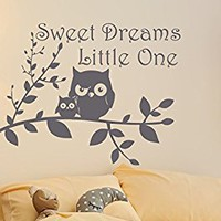 Sweet Dreams Wall Decals Owl Vinyl Decal Tree Stickers Home Decor Baby Nursery Decal MN1029 (28x36)