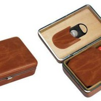 Visol Executive Mens Brown Leather Cigar Case With Cutter - Holds 5 Cigars