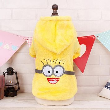 Winter Pet Dog Clothes Cute Minions Design Warm Cotton Puppy Jacket Clothes for Teddy Chihuahua Hoodie Coat