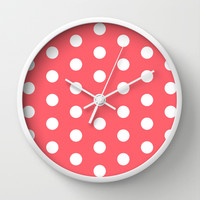 Polka Dot Coral Wall Clock by Beautiful Homes