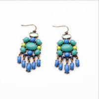 Aviva Chandeliers Blue Statement Earrings