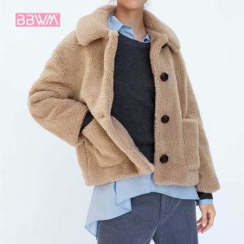 Trendy 2018 winter  New women's plush texture casual warm jacket   Lapel single-breasted pink pocket with cute coat AT_94_13