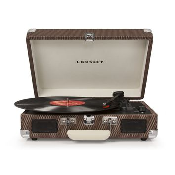 Crosley Cruiser Deluxe Retro Turntable with Bluetooth CR8005D - It's Portable! - Tweed Print