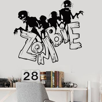 Vinyl Wall Decal Zombie Dead Horror Teen Room Stickers Mural Unique Gift (ig3549)