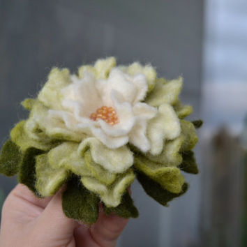 Wool Felt Flower Pin White and Green Ombre - Floral Winter Coat Accessory - Handmade Felted Brooch