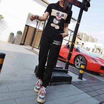 """Gucci"" Women Casual Fashion Letter Cartoon Mickey Print Tiger Head Short Sleeve Trousers Set Two-Piece Sportswear"