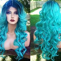 U.S.A. // Teal Blue Green Curly LACE Front & Part Pastel Wig w/ Ombre Turquoise Dark Roots Cosplay