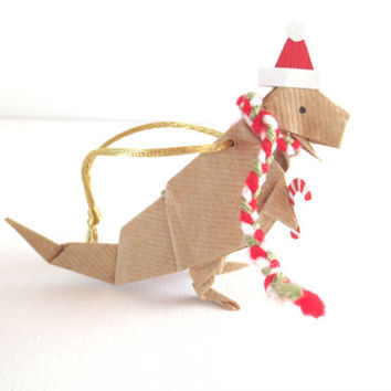 Origami Dinosaur Ornament, T-Rex with Santa Hat and Scarf, Brown