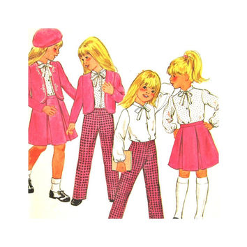 Butterick 3309 Uncut Pattern Girl's Jacket, Blouse, Skirt, and Pants Size 6 School Clothes Vintage