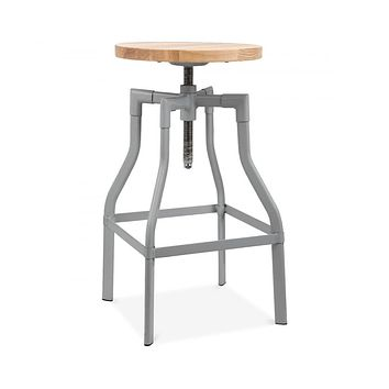 Machinist Grey Adjustable Steel Barstool Ash Wood Seat 26 - 32 Inch