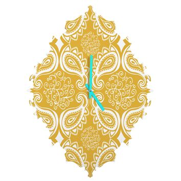 Heather Dutton Plush Paisley Goldenrod Baroque Clock