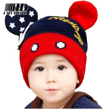 Fashion Children Beanie Hats Winter Cap Warm Wool Cute Toddler Crochet Mickey Hat Ears Hats Baby Hat For Girls Boys 0-4 Years
