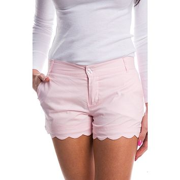 Scalloped Hem Poplin Short in Pink by Lauren James