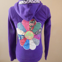 Purple Grateful Dead Stealie Upcycled Zip Up Hoodie with Vintage Butterfly Trim OOAK Size M Mandala Applique Dancing Bear Hippie clothes