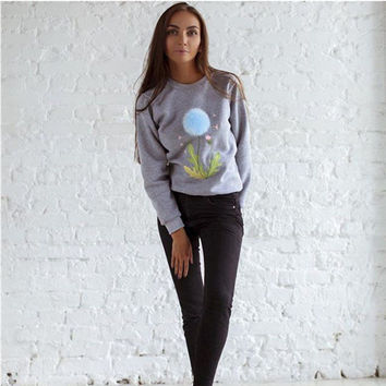 Grey Embroidery with PomPom Detail Sweatshirt