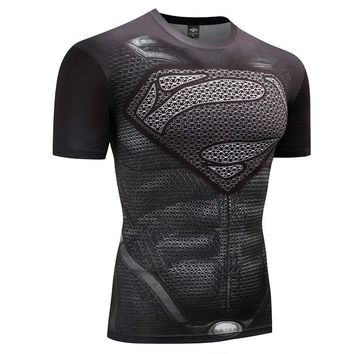 Fitness Compression Shirt Men Anime Bodybuilding tops tees 3 D Superman Punishes T Shirt
