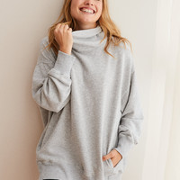 Aerie Turtleneck Sweatshirt, Medium Heather