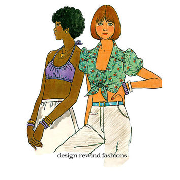 Butterick 4221 SEXY HALTER Top Pattern Feminine Blouse Pattern Bra Top Pattern Size 12 Bust 34 1970s Boho Womens Sewing Patterns