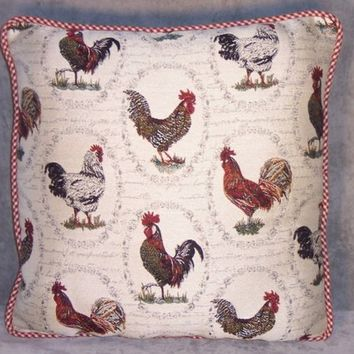 "Chicken Throw Pillow Brocade Roosters  Red Check 16"" Square Ready To Ship Cover And Insert"