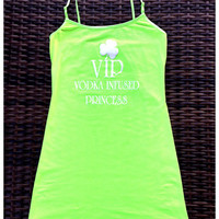Neon Green St Patty's Day Long Tank Top w/ Adjustable Straps -VIP Vodk | Royce Clothing