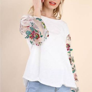 Puff Sleeve Top, Off White