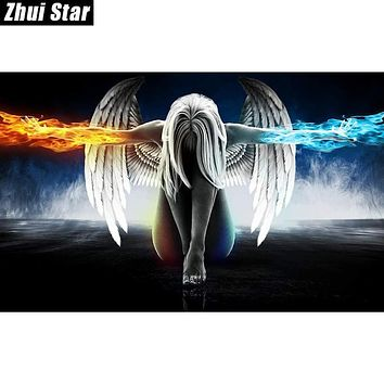 "Zhui Star Diamond Painting Full Square Diamond ""Angel And Wings"" 3D Embroidery Cross Stitch Rhinestone 5D DIY Mosaic Home Decor"