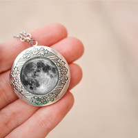 Full Moon Locket Necklace