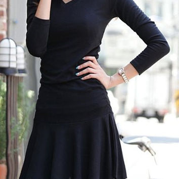 Black V-Neck Long Sleeve Skater Dress