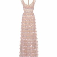 Sleeveless sequin-embellished dress